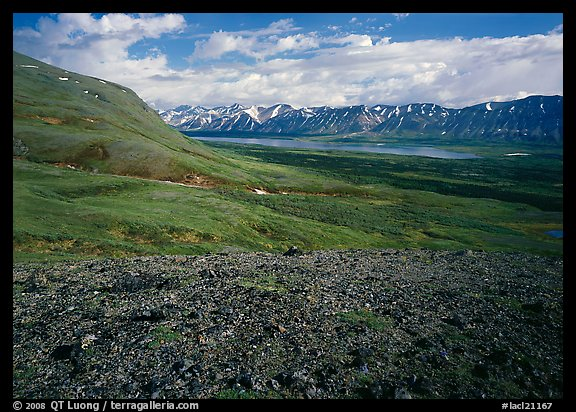 Tundra with Twin Lakes and mountains in the distance. Lake Clark National Park (color)