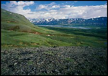Tundra with Twin Lakes and mountains in the distance. Lake Clark National Park, Alaska, USA.