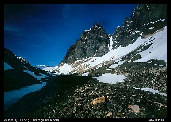 Moraine, neves, and rocky peaks, Telaquana Mountains. Lake Clark National Park (color)