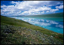 Clouds and reflections from above Turquoise Lake. Lake Clark National Park, Alaska, USA. (color)