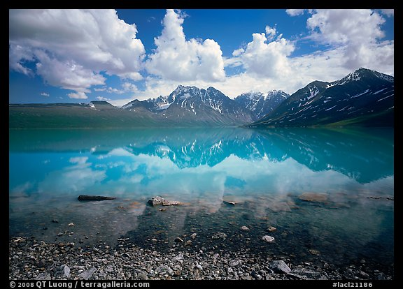 Clouds and Telaquana Mountains above Turquoise Lake, from the middle of the lake. Lake Clark National Park (color)