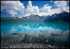 Clouds and Telaquana Mountains above Turquoise Lake, from the middle of the lake. Lake Clark National Park ( color)