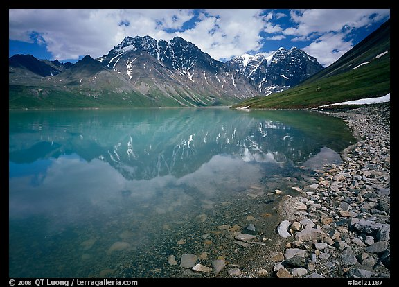 Shore of Turqouise Lake with Telaquana Mountains reflected in silty water. Lake Clark National Park (color)