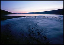 Stream flows into Turquoise Lake, midnight sunset. Lake Clark National Park ( color)