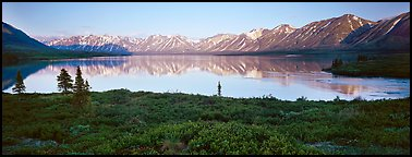 Calm evening at Twin Lakes. Lake Clark National Park (Panoramic color)