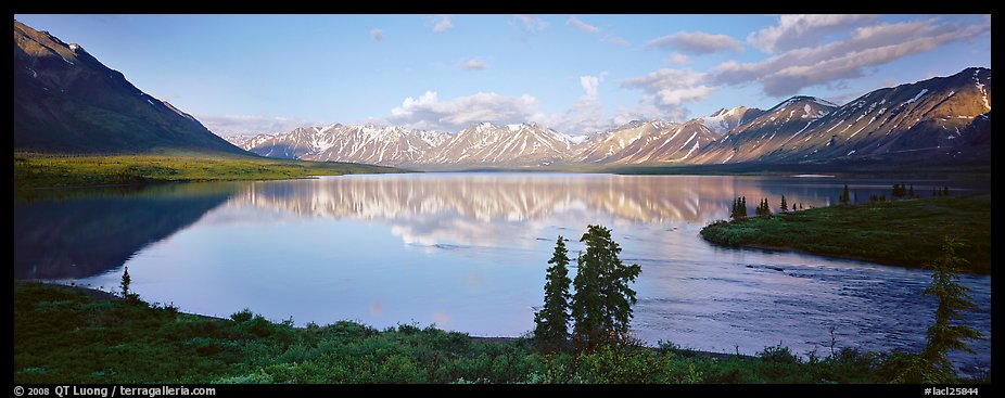 Mountains reflected in Twin Lakes. Lake Clark National Park (color)