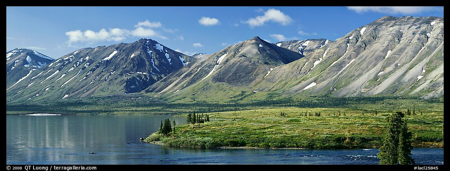 Mountains rising above Twin Lakes. Lake Clark National Park (color)