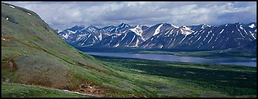 Summer mountain landscape with cloudy skies. Lake Clark National Park (Panoramic color)