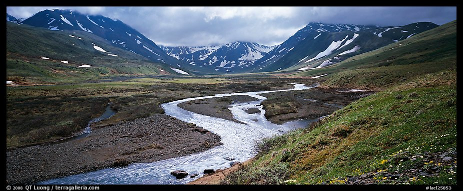 Mountain scenery with stream and tundra in summer. Lake Clark National Park (color)
