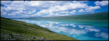 Turquoise Lake reflecting clouds. Lake Clark National Park (Panoramic color)
