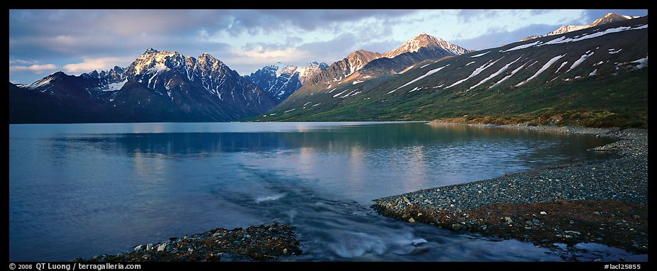 Stream flowing into mountain lake. Lake Clark National Park (color)