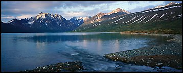 Stream flowing into mountain lake. Lake Clark National Park (Panoramic color)