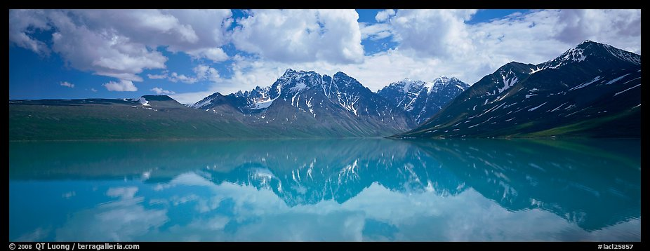 Clouds and mountains reflected in Turquoise Lake. Lake Clark National Park (color)