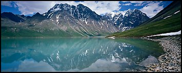 Tall mountains reflected in Turquoise Lake. Lake Clark National Park (Panoramic color)
