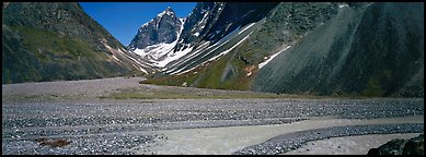 Valley with gravel bar surrounded by steep mountains. Lake Clark National Park (Panoramic color)