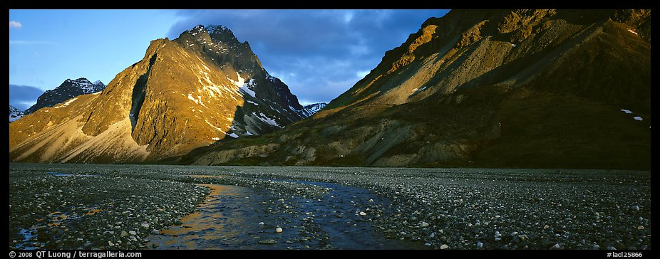 Stream, gravel bar, and mountains at sunset. Lake Clark National Park (color)