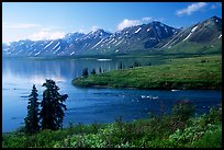 Twin Lakes and river, morning. Lake Clark National Park, Alaska, USA.