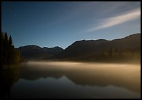 Kontrashibuna Lake with thin layer of mist at night. Lake Clark National Park ( color)