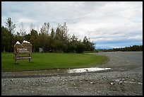 Airport runway and national park sign. Lake Clark National Park ( color)