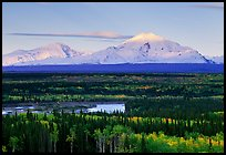 Mt Sanford and Mt Drum, late afternoon. Wrangell-St Elias National Park, Alaska, USA. (color)