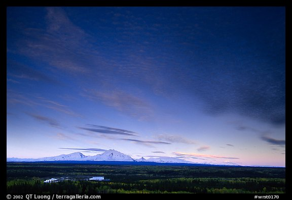 The Wrangell mountains seen from the west, sunset. Wrangell-St Elias National Park (color)