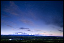The Wrangell mountains seen from the west, sunset. Wrangell-St Elias National Park, Alaska, USA. (color)