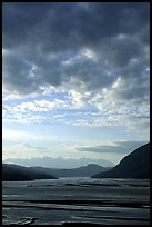 Sky and Copper River. Wrangell-St Elias National Park, Alaska, USA.