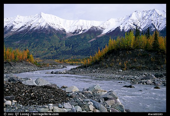 Kennicott river and Wrangell mountains. Wrangell-St Elias National Park (color)