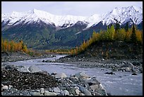 Kennicott river and Wrangell mountains. Wrangell-St Elias National Park, Alaska, USA.