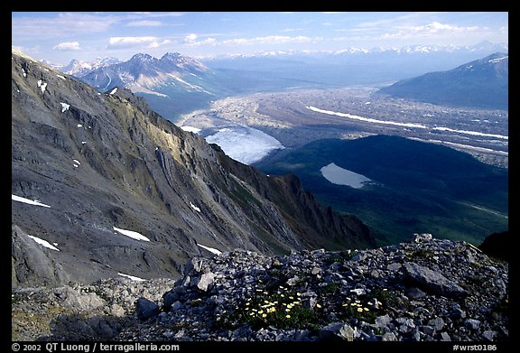 Mountain landscape with glacier seen from above. Wrangell-St Elias National Park (color)