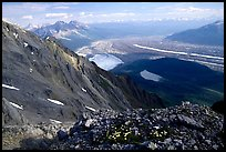 Mountain landscape with glacier seen from above. Wrangell-St Elias National Park, Alaska, USA.