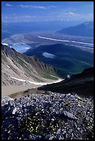 Junction of Kennicott and Root glaciers seen from Mt Donoho, late afternoon. Wrangell-St Elias National Park ( color)