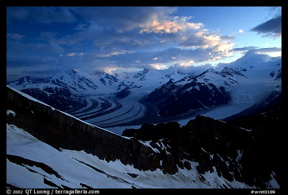 The Wrangell range seen from Mt Donoho, sunrise. Wrangell-St Elias National Park (color)