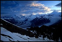 The Wrangell range seen from Mt Donoho, sunrise. Wrangell-St Elias National Park, Alaska, USA.