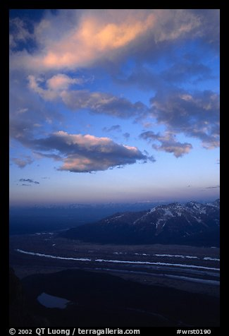 Clouds, glacier, and mountains seen from above. Wrangell-St Elias National Park (color)