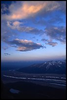 Clouds, glacier, and mountains seen from above. Wrangell-St Elias National Park, Alaska, USA.