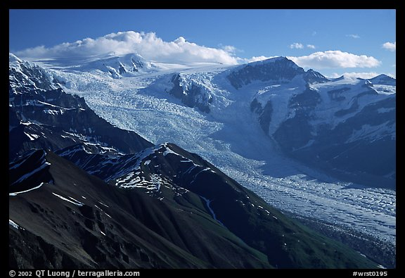 Root glacier seen from Mt Donoho, morning. Wrangell-St Elias National Park, Alaska, USA.