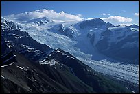 Root glacier seen from Mt Donoho, morning. Wrangell-St Elias National Park, Alaska, USA. (color)