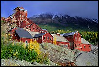 Kennicott historic mine town, late afternoon. Wrangell-St Elias National Park, Alaska, USA. (color)