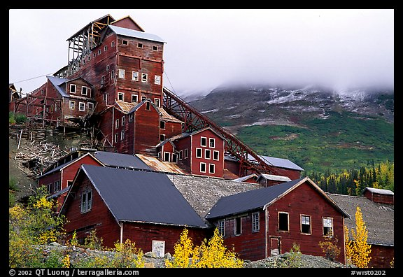 Kennicott historic copper mine and clouds. Wrangell-St Elias National Park (color)
