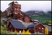 Kennicott historic copper mine and clouds. Wrangell-St Elias National Park, Alaska, USA. (color)