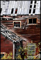 Damaged roof and walls, Kennicott mine. Wrangell-St Elias National Park, Alaska, USA. (color)