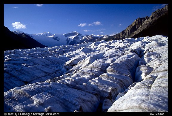 Crevasses on Root glacier, Wrangell mountains in the background, late afternoon. Wrangell-St Elias National Park (color)