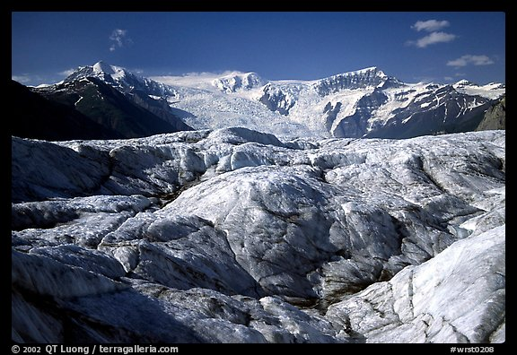 Crevasses on Root glacier, Wrangell mountains in the background. Wrangell-St Elias National Park (color)