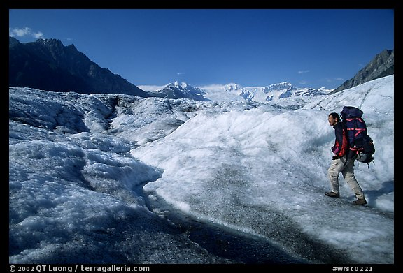 Backpacker on Root glacier. Wrangell-St Elias National Park (color)