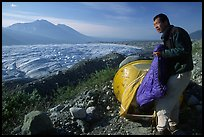 Camping on the moraine above Root glacier. Wrangell-St Elias National Park, Alaska, USA.