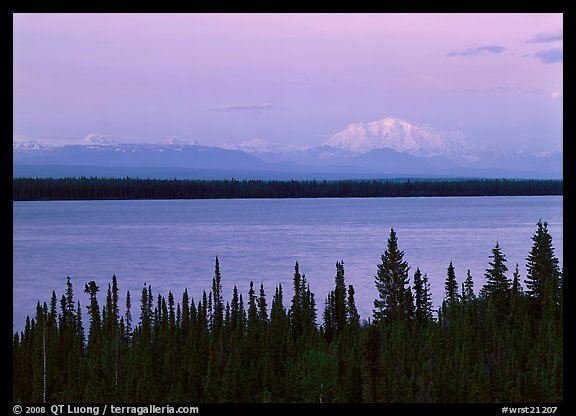 Wrangell range and Mt Blackburn above Willow Lake with pink sunset hues. Wrangell-St Elias National Park (color)