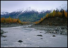 Kennicott River and snow-covered Bonanza ridge. Wrangell-St Elias National Park, Alaska, USA.