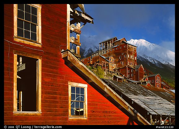 Kennicott historic mine in storm light, late afternoon. Wrangell-St Elias National Park, Alaska, USA.