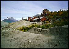 Kennecott abandonned mill above moraines. Wrangell-St Elias National Park, Alaska, USA. (color)